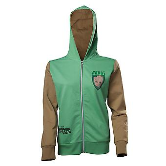 Guardians of the Galaxy Hoodie Groot Character Official Womens New Green Zipped
