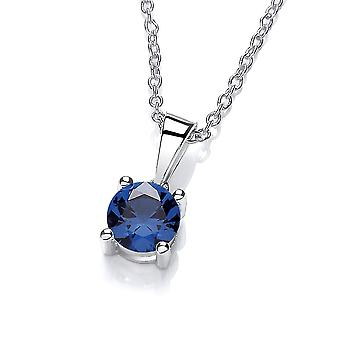 David Deyong Sterling Silver Created Blue Sapphire Necklace September Birthstone