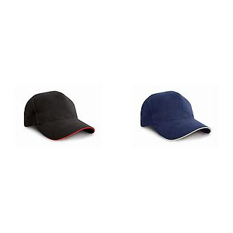 Result Pro-Style Heavy Brushed Cotton Baseball Cap With Sandwich Peak