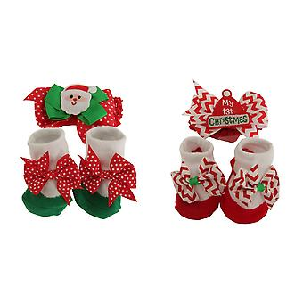 Nursery Time Baby Christmas Headband And Socks Set