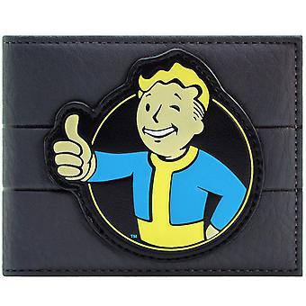 Fallout 4 Vault Boy 111 Thumbs Up Charisma Perk Grey ID & Card Bi-Fold Wallet
