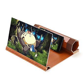 12&; Drewno obrotowe 3d hd ekran telefonu lupa filmowy wzmacniacz wideo dla inteligentnego telefonu samsung iPhone huawei xiaomi