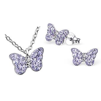 Girls sterling silver purple crystal butterfly necklace and stud earrings set