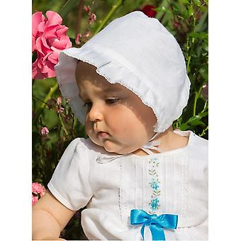 Christening Bonnet In White Linen From Grace Of Sweden