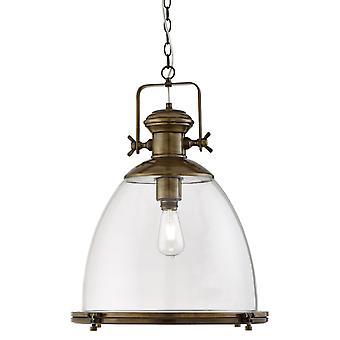 Pingente de bronze antigo industrial com difusor de vidro transparente-Searchlight 6659