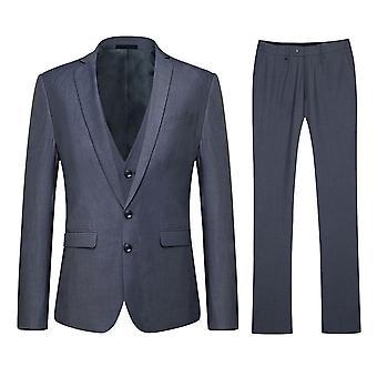 Allthemen Men's Korean Version Two-Button Slim 3-Piece Suit
