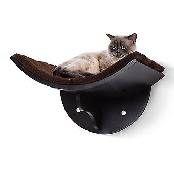 PawHut Wood Cat Shelves Wall-Mounted Shelter Curved Kitten Bed Cat Perch Climber Cat Furniture