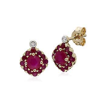 Pendientes de garntes redondos de diamantes y rubíes redondos en oro amarillo de 9 qt 135E1571019