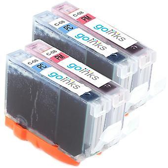 2 Conjunto de fotos de 2 cartuchos de tinta para reemplazar la CLI-8PC y CLI-8PM compatible/no OEM de Canon de Las tintas Go (4 tintas)