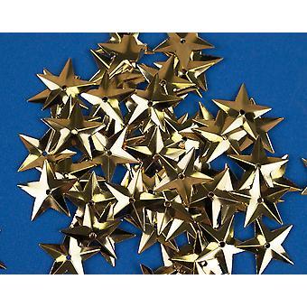 50 Metallic Gold 18mm Paljett Stjärnor för hantverk