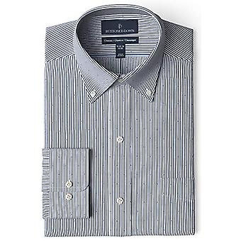 BUTTONED DOWN Men's Classic Fit Button Collar Pattern Non-Iron Dress Shirt, N...