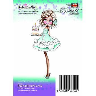 Polkadoodles Ruby Birthday Cake Clear Stamp