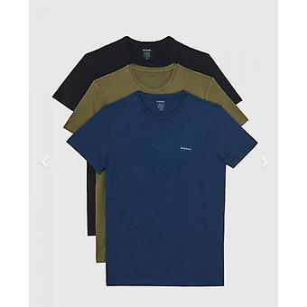 Pakkaus 3 T-paitaa Musta/Vihreä/Sininen