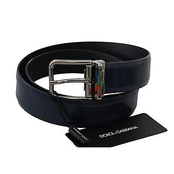 Dolce & Gabbana Blue Leather Polished Silver Buckle Belt -- BEL6083248