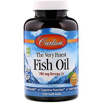 Carlson Labs, The Very Finest Fish Oil, Natural Orange Flavor, 700 mg, 120 Soft
