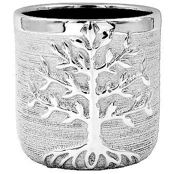 Grande árvore de prata da plantadora vitaleira plantador pot metal