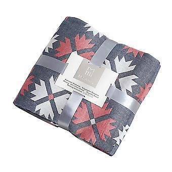 4 Layers Gauze Maple Leaf Cotton Blanket Navy Gray 200cmx230cm