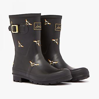 Joules Molly señoras rubber Wellies negro metalizado abejas