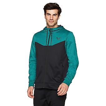 Peak Velocity Men's Quantum Fleece Full-Zip Loose-Fit Hoodie, punch green hea...