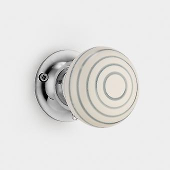 Keramische binnendeurknop - Wit / Grijs - Streep