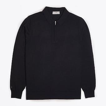 Thomas Maine  - Merino Half Zip Polo - Black