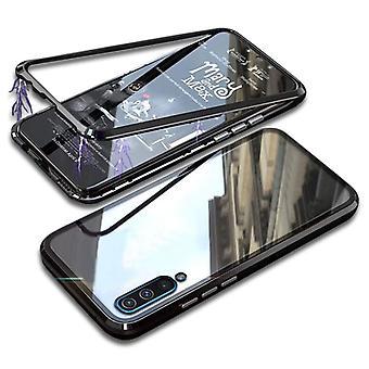 דברים מאושרים® סמסונג גלקסי A50 מגנטי 360 ° מגן עם זכוכית מחוסמת - כיסוי גוף מלא מקרה + מגן מסך שחור
