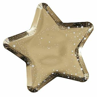 Gold Foiled Christmas Star Paper Plates x 8 Tableware