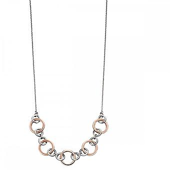 Elements Silver Multi Link Rose Gold Plated Necklace N4294