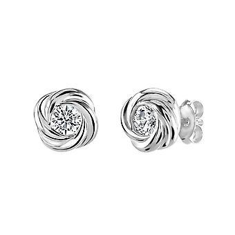 Dew Silver Silver Swirl With Cubic Zirconia Stud Earrings 3312CZ027