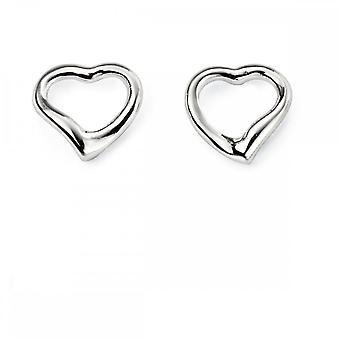 بدايات الجنيه الاسترليني الفضة E2102 الصغيرة المفتوحة القلب مسمار الأقراط
