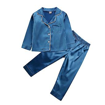 Childrens Kids Pyjamas , Silk Satin Tops And Pant Long Sleeve Sleepwear
