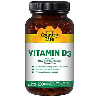 Country Life D3-vitamiini, 1000 IU, 200 Softgels