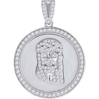 925 Sterling Silver Mens CZ Cubic Zirconia Simulated Diamond Jesus Medallion Religious Pendant Necklace Charm Jewelry Gi