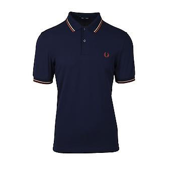 Fred Perry Twin Tipped Polo Shirt Bleu carbone / chaud Pierre / paprika