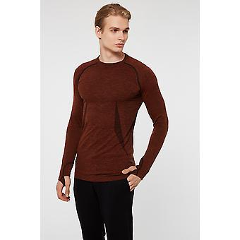 Jerf Mens Maine Brown Long Sleeves Tee Shirt