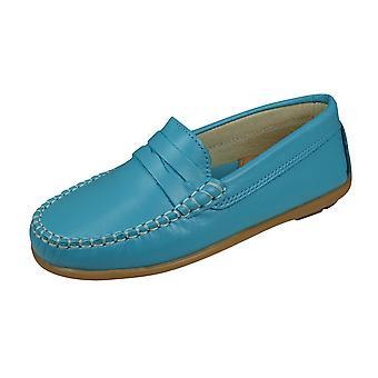 Cool Girls Hadley Läder Mockasins / Småbarn Slip på skor - Turkos