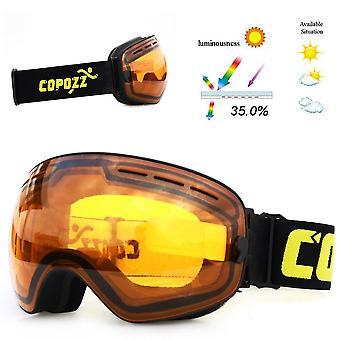 Gafas de esquí profesional de la marca Copozz con lente de doble capa y antiniebla,