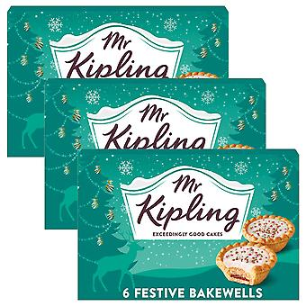 3 x 6 Mr Kipling Iced Bakewell Festive Pies Cakes Hot Cold Pastry Sweet Butter