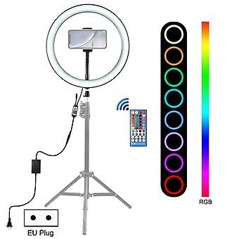PULUZ 12 inch RGB Dimmable LED Ring Vlogging Selfie Photography Video Lights with Cold Shoe Tripod Ball Head & Phone Clamp(EU Plug) RING!