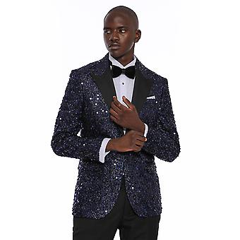 Navy blue sequin patterned party blazer | wessi