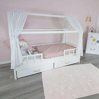 Puckdaddy House Bed Curtain Linnea 146x298cm Conjunto de 2 Tecido Céu com Padrão Pontilhado em Branco