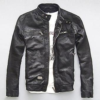 Men Leather Jacket Genuine Real Sheep Goat Skin Brand Male Bomber Motorcycle