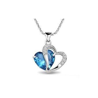 Rhodium Diamond Accent Heart Shape Pendant Necklace Blue Sapphire