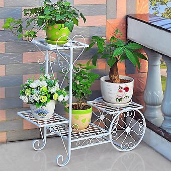 YANGFAN Garden Cart Stand Flower Pot Plant Holder Display Rack