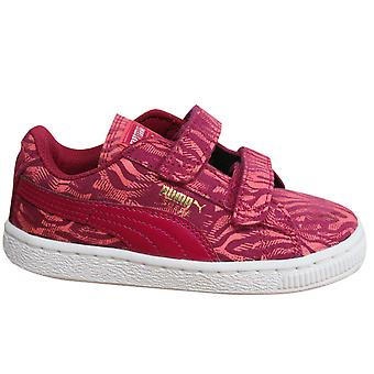 Puma Suede Animal V Kids Trainers 2 Straps Shoes Pattern Leather 356796 01 D2