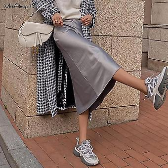Saia de seda de cetim sólida de cintura alta, saias de escritório de senhoras longas de verão, midi