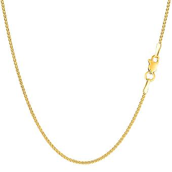 14k Yellow Gold Round Wheat Chain Necklace, 1.2mm