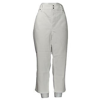 NYDJ Women's Plus Jeans Skinny Cropped Side Slits Optic White A377695