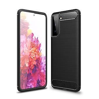 Samsung Galaxy S21 Koolstofvezel Textuur Shell - Zwart
