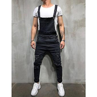 Oversize Men's Ripped Jeans, Jumpsuits Shorts, Summer Denim, Bib Overalls